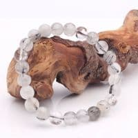 Clear Quartz with Black Tourmaline Bead Bracelet | Crystal Healing